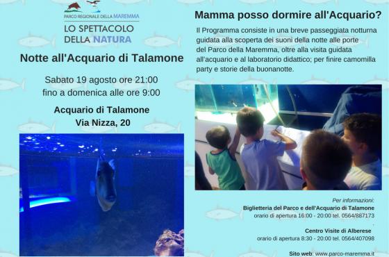19 agosto: Notte all'Acquario di Talamone