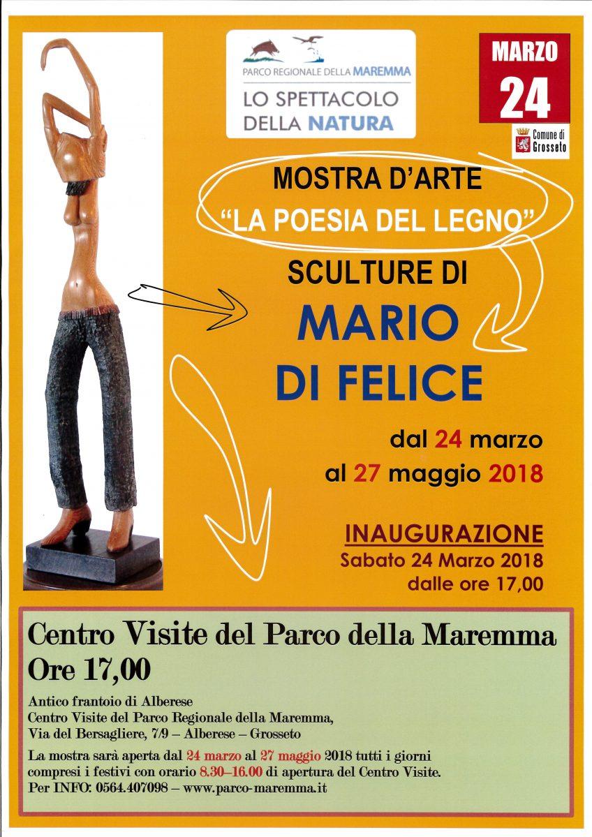 """""""La Poesia del Legno"""": inaugurazione mostra di Mario Di Felice al Parco della Maremma"""